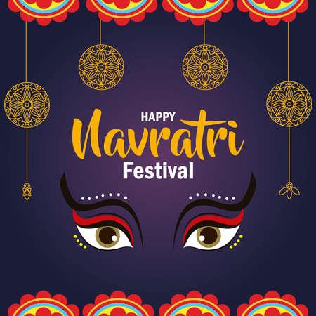 poster of happy navratri celebration vector illustration design