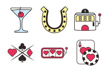 bundle of casino set icons vector illustration design Stock Illustratie