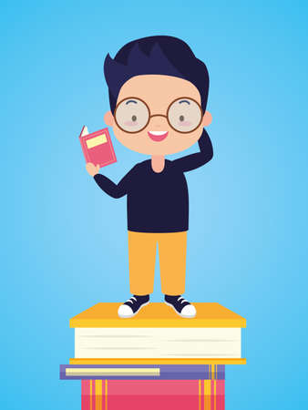 boy reading on books stacked world book day vector illustration
