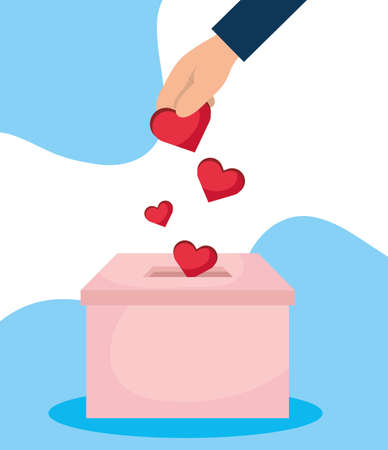 charity donation box with hand insert hearts vector illustration design