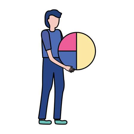 businessman holding diagram pie report vector illustration