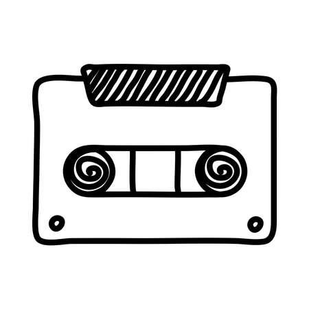 cassette music record line style icon vector illustration design