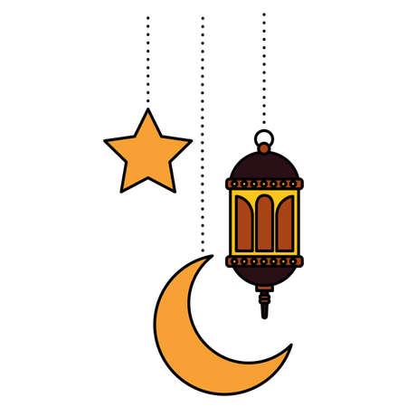 hanging lantern moon star decoration on white background vector illustration