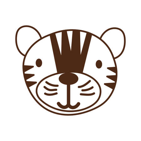 cute tiger wild animal character icon vector illustration design