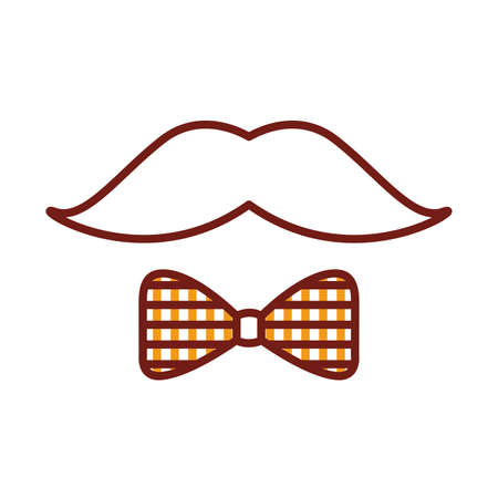 mustache and bowtie line style icon vector illustration design Stock Illustratie