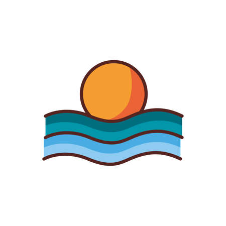 sun with sea waves summer scenes line color style vector illustration design