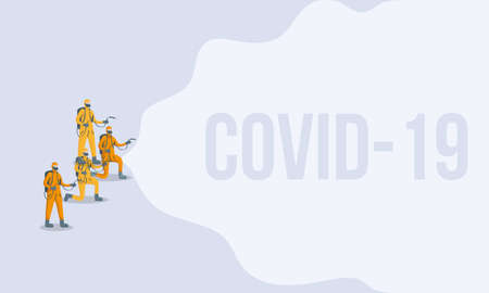 men cleaners with biosafety suits covid19 vector illustration design