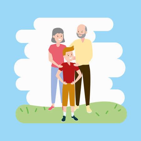 grandparents and grandson family vector illustration design