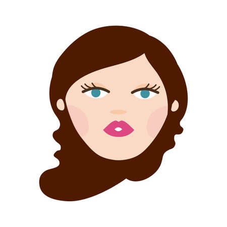 young woman head avatar character vector illustration design