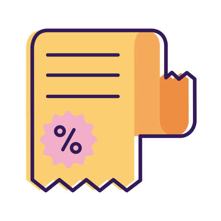 receipt with percent symbol line and fill style icon vector illustration design