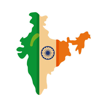 Independece day india celebration flag in map flat style icon vector illustration design