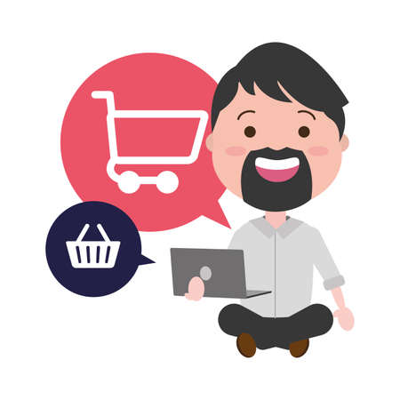 businessman using laptop with ecommerce icons vector illustration design
