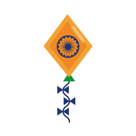 kite with ashoka shakra indian independence day flat style vector illustration design