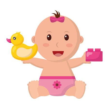 baby girl with duck and block toys vector illustration Ilustración de vector