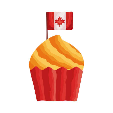 cupcake with canada flag flat style vector illustration design