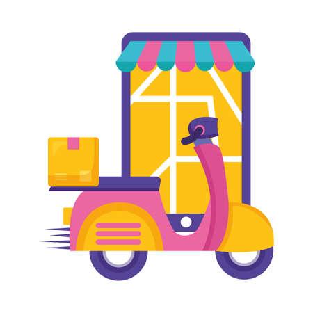smartphone scooter cardboard box destination fast delivery vector illustration Ilustração Vetorial