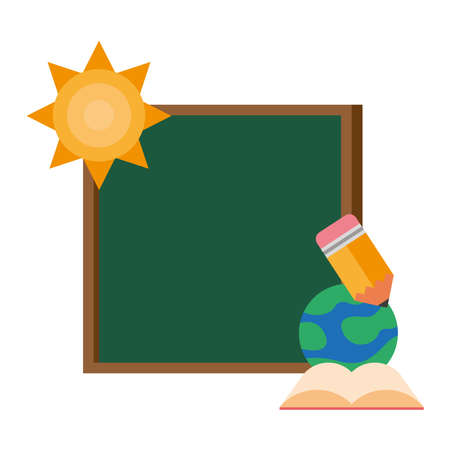 chalkboard school with sun and supplies vector illustration design