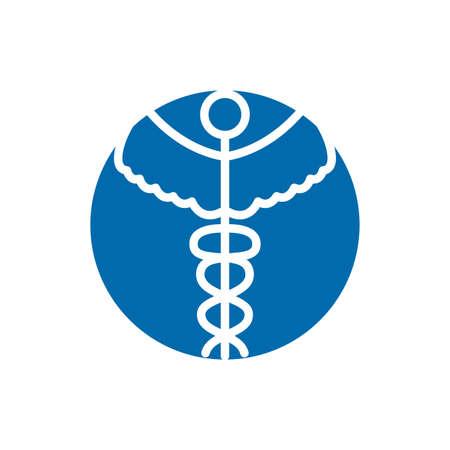caduceus medical symbol block icon vector illustration design
