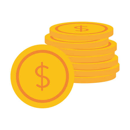 coins money stacked on white background vector illustration Ilustrace