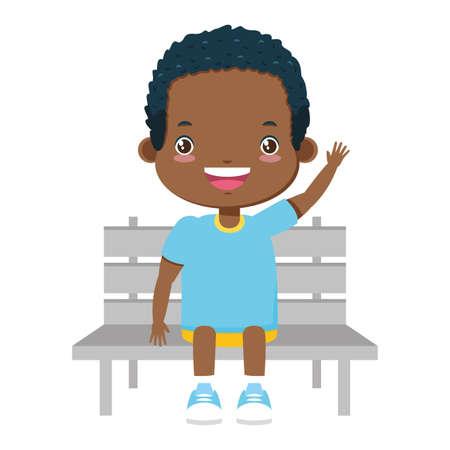 boy sitting on bench white background vector illustration
