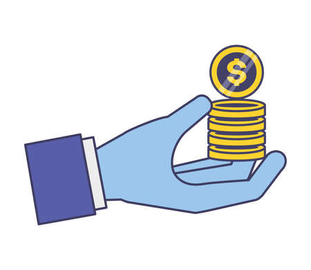 hand holding coins stack money vector illustration