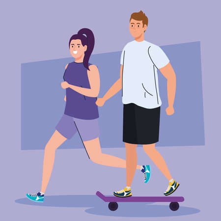 people practicing sport, woman running and man in skateboard, people athlete vector illustration design