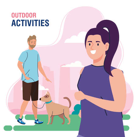 banner, couple performing leisure outdoor activities, woman and man walk with dogs vector illustration design