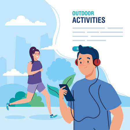 banner, couple performing leisure outdoor activities vector illustration design