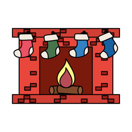 chimney with socks christmas decoration vector illustration design