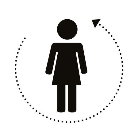 female human figure with lines around distance social silhouette style vector illustration design Illustration