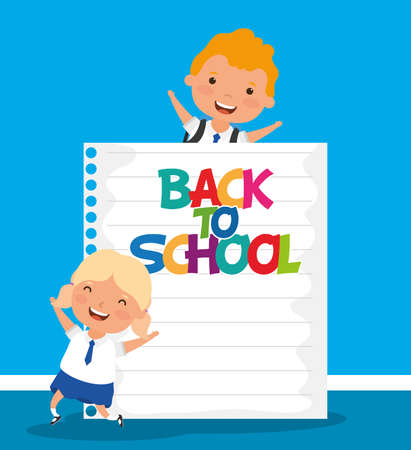 back to school card with kids couple students vector illustration design Stock Illustratie