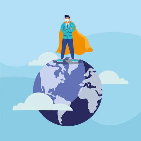 heroic doctor wearing medical mask in earth planet vector illustration design