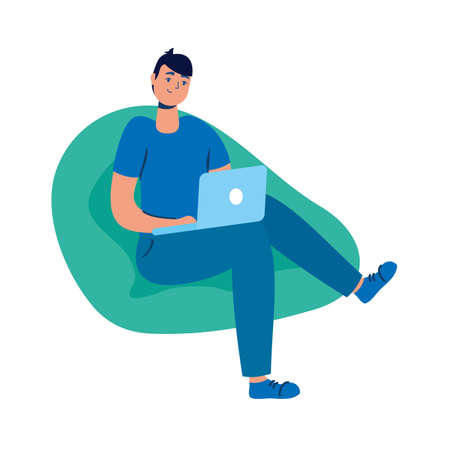 young man using laptop seated in sofa vector illustration design