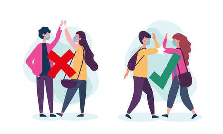Social distancing between boy and girl with masks design of Covid 19 virus theme Vector illustration Vektorgrafik