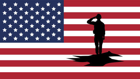 soldier silhouette with usa flag background vector illustration design Illustration
