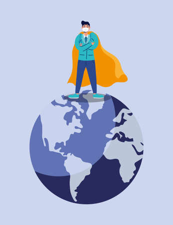 doctor hero with face mask in earth planet vector illustration design