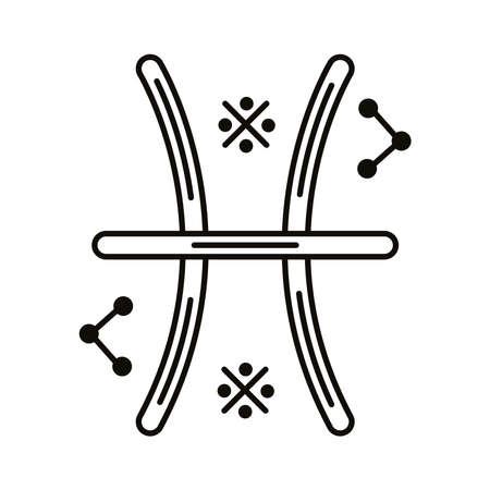 pisces zodiac sign symbol line style icon vector illustration design
