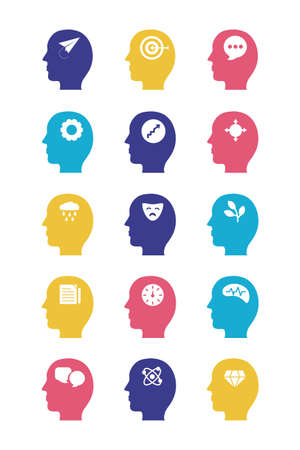 bundle of profiles mental health silhouette style icon vector illustration design