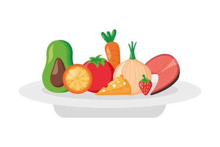 fruits vegetables food on dish world health day vector illustration Illustration