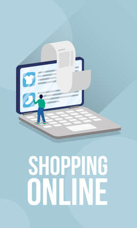 shopping online ecommerce with man in laptop and receipt vector illustration design