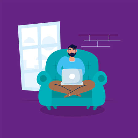 man using laptop in sofa stay at home campaign vector illustration design