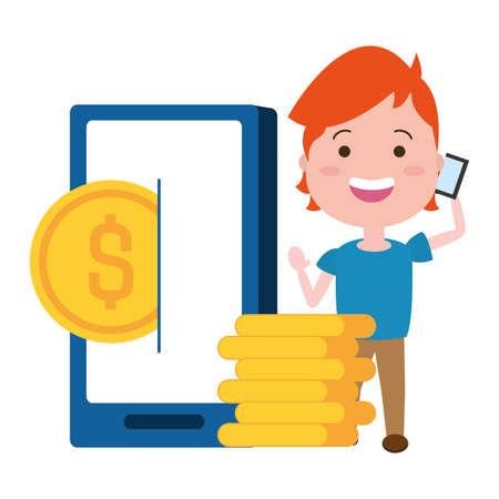 woman using smarphone with coins dollars vector illustration design Vektorové ilustrace