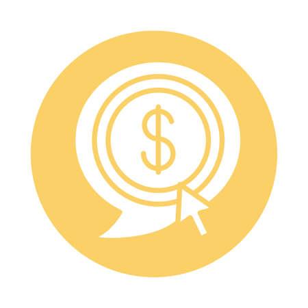 coin dollar in speech bubble block style icon vector illustration design