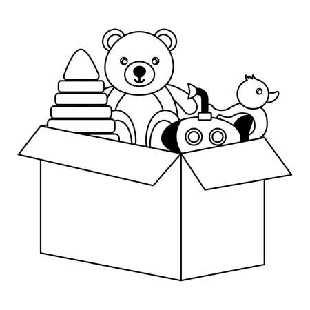 kids toys bear pyramid duck submarine box vector illustration