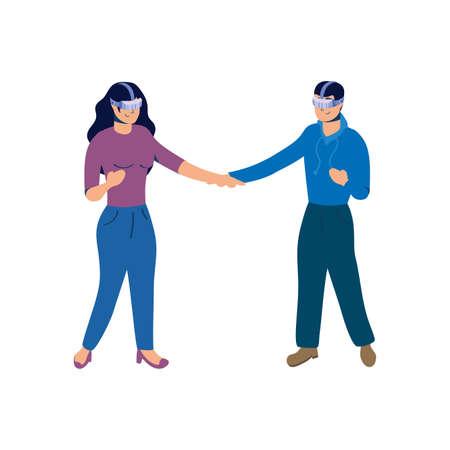 couple using reality virtual tech vector illustration design