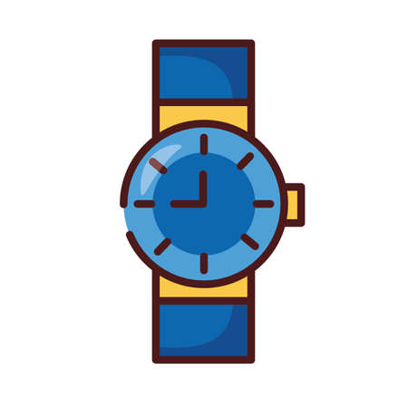 wristle clock watch line and fill style icon vector illustration design