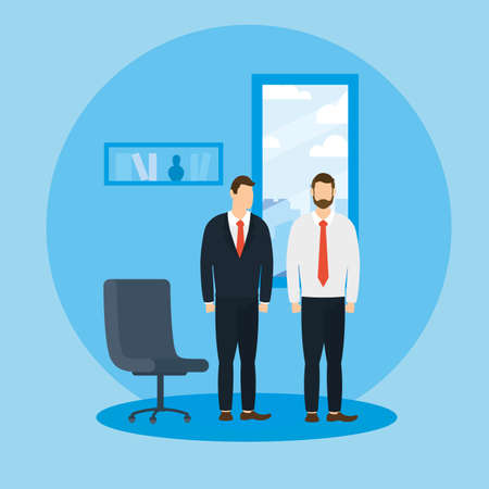 Businessmen with chair design, Office business management and corporate theme Vector illustration
