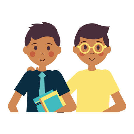 two men young character with book vector illustration design