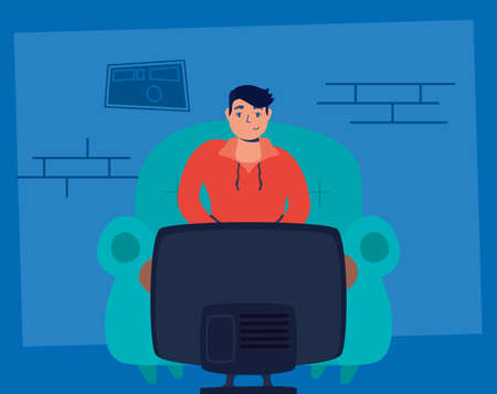 man watching tv stay at home campaign vector illustration Vectores