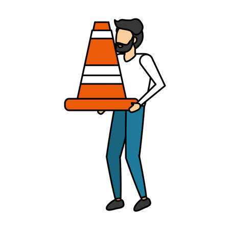 man holding traffic cone white background vector illustration